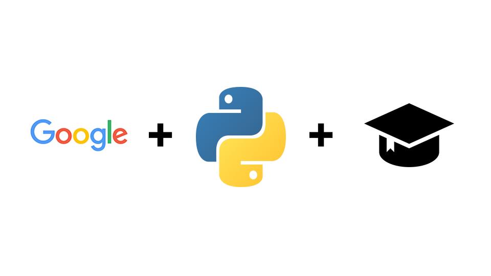 logo Google, +, logo of Python, +, academic hat