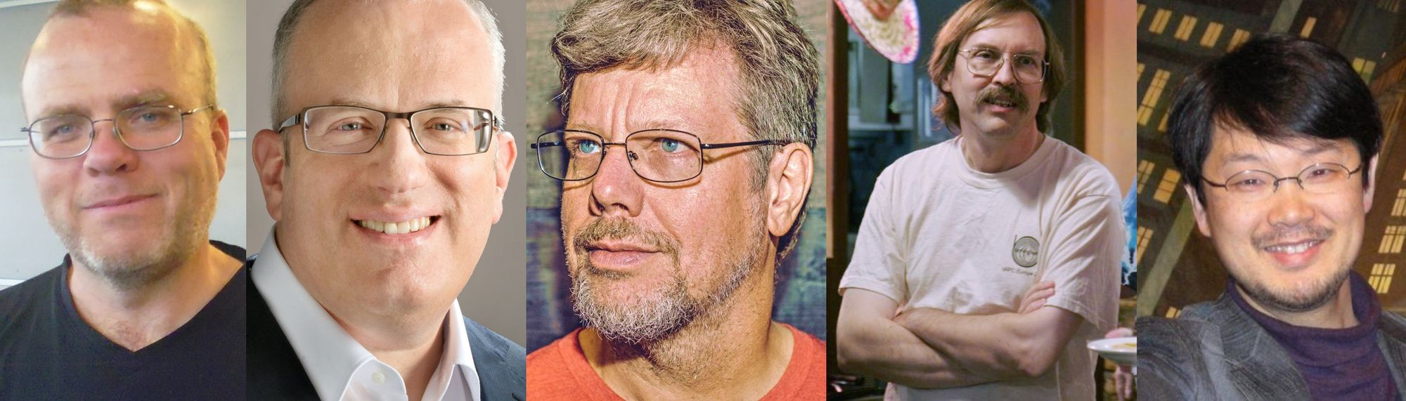 Collage of multiple photos. From the left: Rasmus Lerdorf (creator of PHP), Brendan Eich (creator of JavaScript), Guido van Rossum (creator of Python), Larry Wall (creator of Perl) and Yukihiro Matsumoto (creator of Ruby)